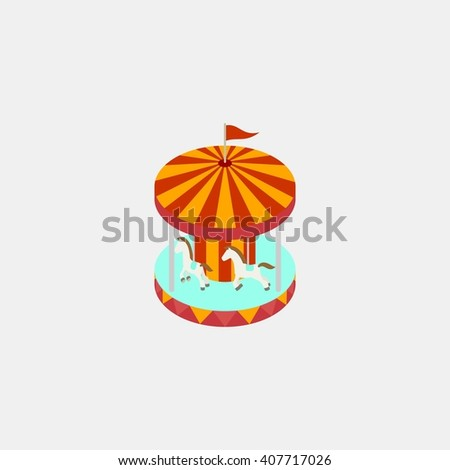 carousel horse ride amusements park isometric. Amusement park icons. amusement park abstract isolated vector illustration. - stock vector