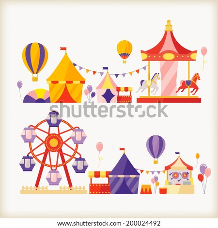 carousels and ferris wheel  - stock vector