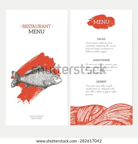 Carp Fish Asian style restaurant menu. Vector illustration - stock vector