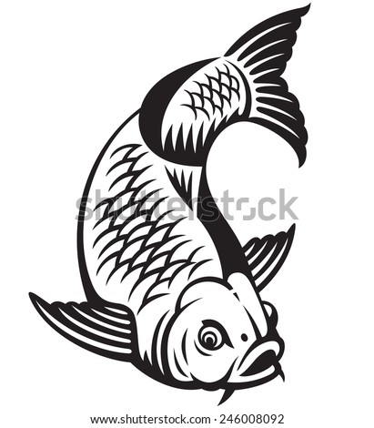 Carp fish cartoon. Vector illustration - stock vector