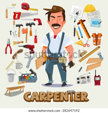 Carpenter character design with set of tools. Carpentry work design concept. typographic. vector illustration - stock vector