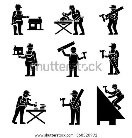 Carpenter Icons - stock vector