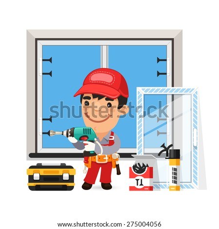 Carpenter Installs the New Window. Isolated on white background. - stock vector