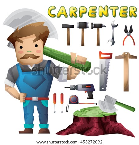 carpenter man with separated layers for game and animation, game design asset - stock vector