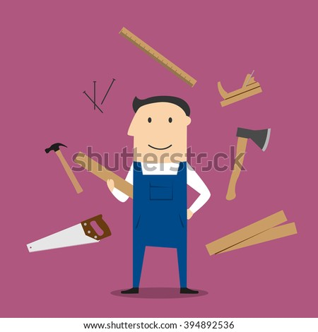 Carpenter profession design with man in overalls, timber and carpentry tools with hammers and axe, nails and wooden toolbox, handsaw and hacksaw, folding rule and jack plane - stock vector