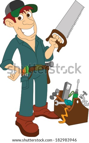 Carpenter Standing with Saw - stock vector