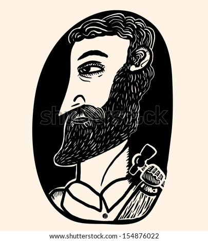 carpenter with beard portrait - stock vector