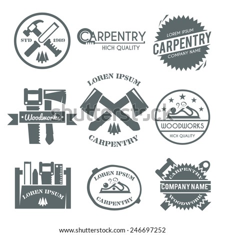 Carpentry black label set with work tools carpenter fix kit toolbox isolated vector illustration - stock vector