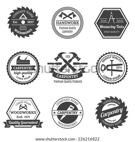 Carpentry woodworks handwork premium high quality measuring tools emblems set isolated vector illustration - stock vector