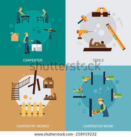 Carpentry work design concept set with carpenter tools flat icons isolated vector illustration - stock vector
