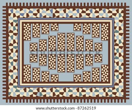 Carpet design with geometric decorations - stock vector