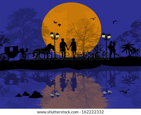 Carriage and lovers at night with reflection, romantic background, vector illustration