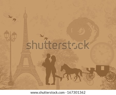 Carriage and lovers in Paris, on vintage romantic background, vector illustration - stock vector