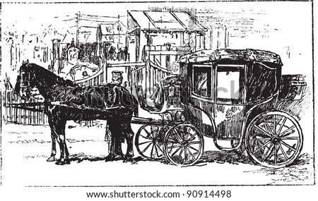 "Carriage - Vintage illustration from ""La petite soeur par Hector Malot"" 1882, France"