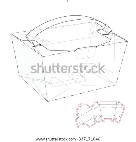 Carrier Box with Die Cut Template - stock vector