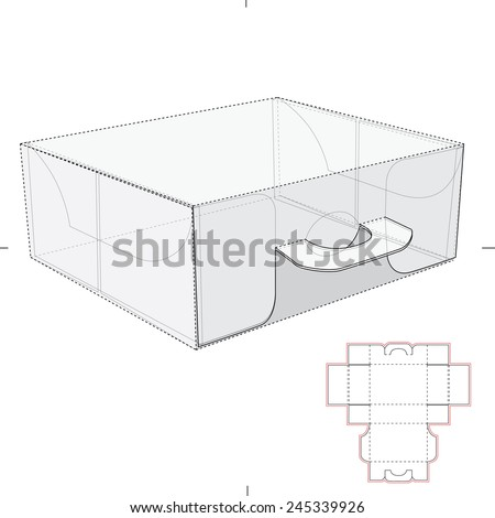 Carrier Box with Handles and Die Cut Templates - stock vector