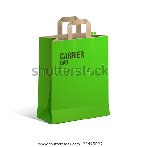 Carrier Paper Recycle Bag Brown And Green Empty EPS10 - stock vector