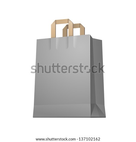 Carrier Shopping Paper Bag Gray Graphite Empty EPS10