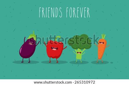Carrot, broccoli, pepper, eggplant cartoon vegetables illustration. Vector cartoon. Friends forever. ?omic characters. - stock vector