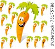 carrot cartoon with many expressions - stock vector