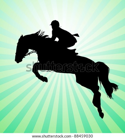 Carrying out horse with horseman vector - stock vector