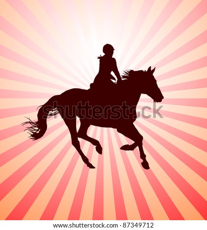 Carrying out horse with horsewoman vector - stock vector