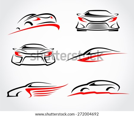 Cars abstract set. Vector - stock vector