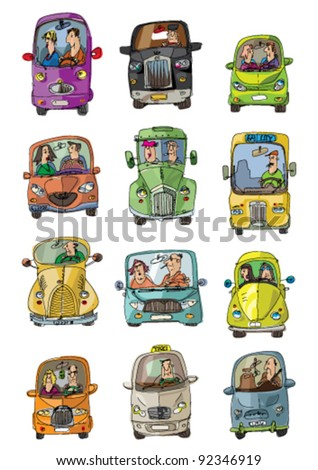 cars and drivers - stock vector
