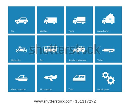 Cars and Transport icons on blue background. Vector illustration. - stock vector