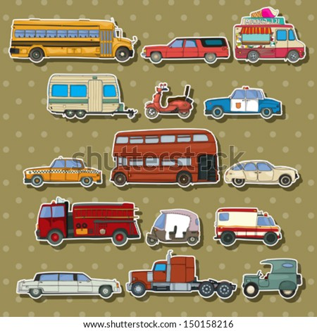 Cars and transportation sticker set, vector cartoon illustration