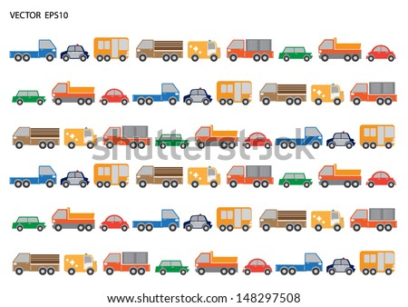 Cars and trucks in vector eps 10 format