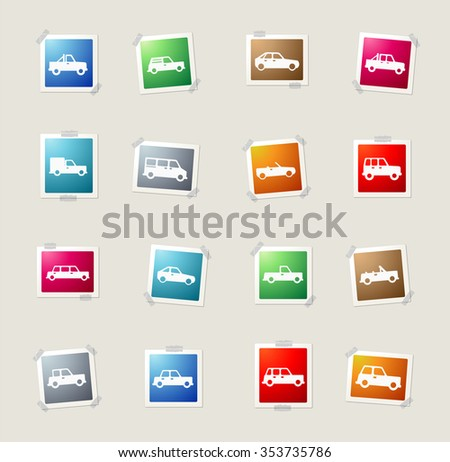 Cars card icons for web - stock vector