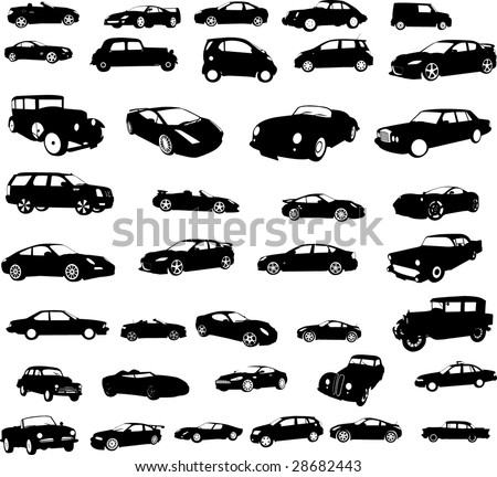 cars collection - vector - stock vector
