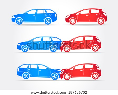 Cars Crash - stock vector