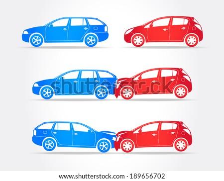 Cars Crash - stock vector