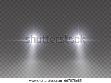 Cars Flares Light Effect Realistic White Glow Round Car Headlight Beams Isolated On Transparent Gloom