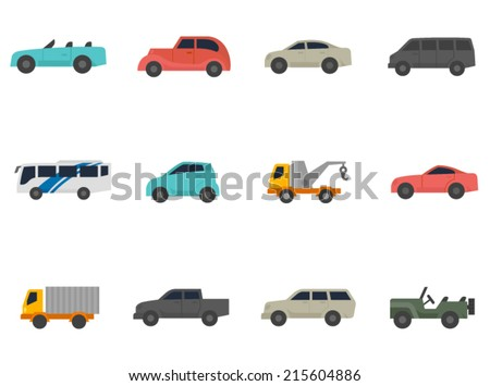 Cars icon series in flat colors style. - stock vector