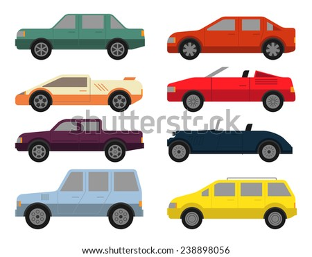 Cars icon set in flat colors style. Eight passenger vehicles with different types of body isolated on white background. Modern vector design. - stock vector