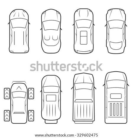 Cars Icon Set Thin Line Style Stock Photo (Photo, Vector ...