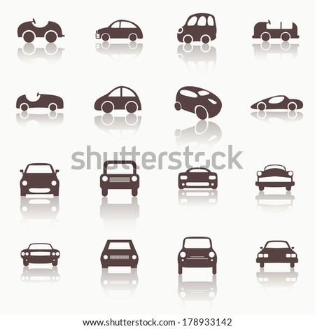Cars icons set different vector car forms. Web icons. - stock vector