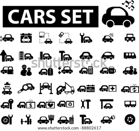 cars icons set, signs, vector