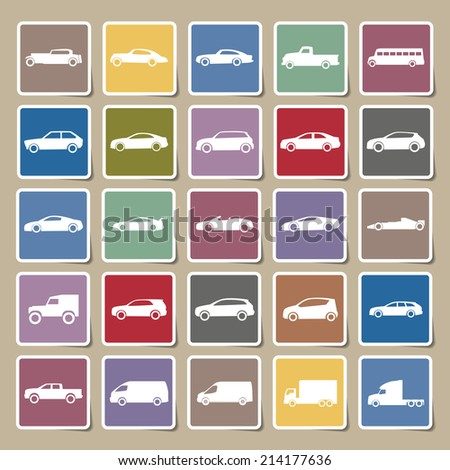 Cars icons Sticker set ,vector EPS10 - stock vector
