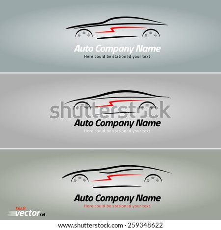 Cars in the form of lines of silhouette, in movement. Car logo design. eps 8 - stock vector
