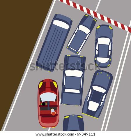 Cars in Traffic/Block - stock vector