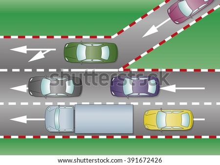 Cars join the motorway through the freeway entrance. Traffic concept - stock vector