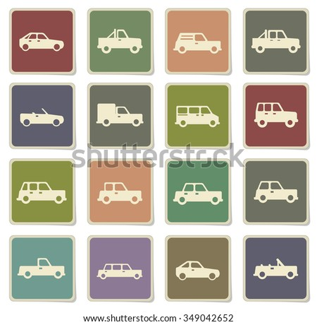 Cars label icons for web - stock vector