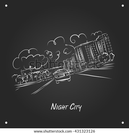 Cars on night city road, sketch for your design - stock vector
