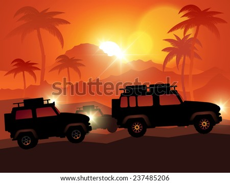 Cars on off road isolated on background. Vector illustration - stock vector