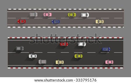 cars on roads top view vector - stock vector