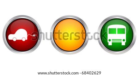 cars on traffic light - stock vector